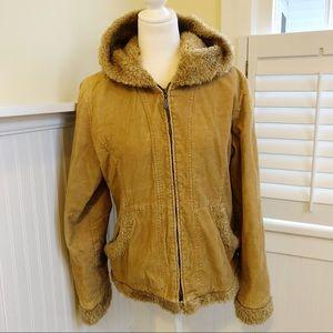 Mudd Tan Corduroy & Faux Fur Winter Jacket Large